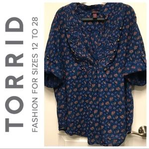Torrid Floral Military Poplin Blouse - Plus